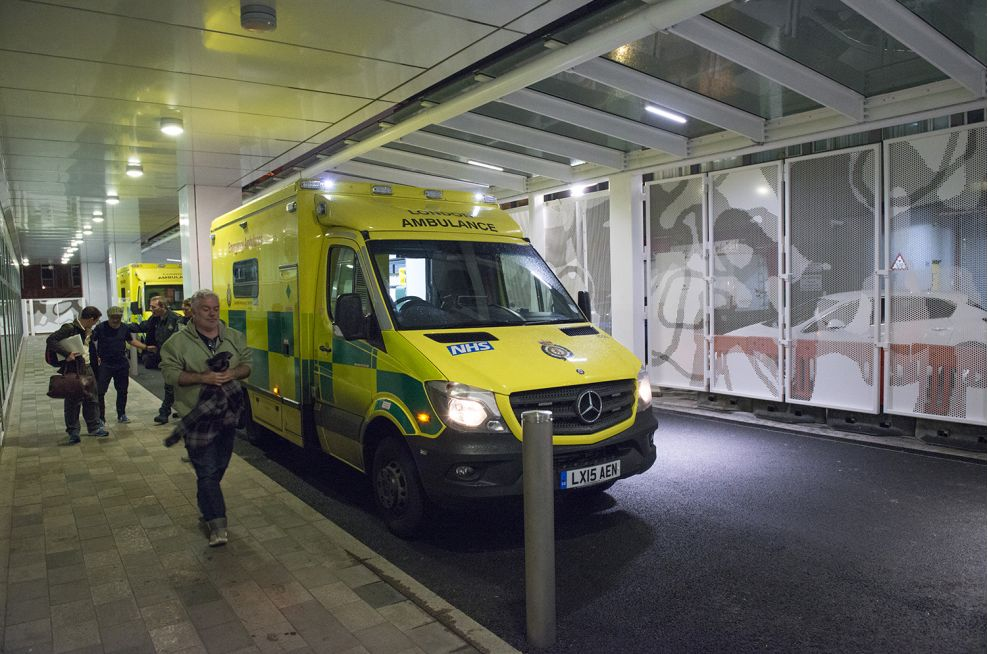 The new, canopied ambulance drop-off station for UCH, off Grafton Way