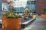 Custom Coloured Steel Planters At University of Manchester