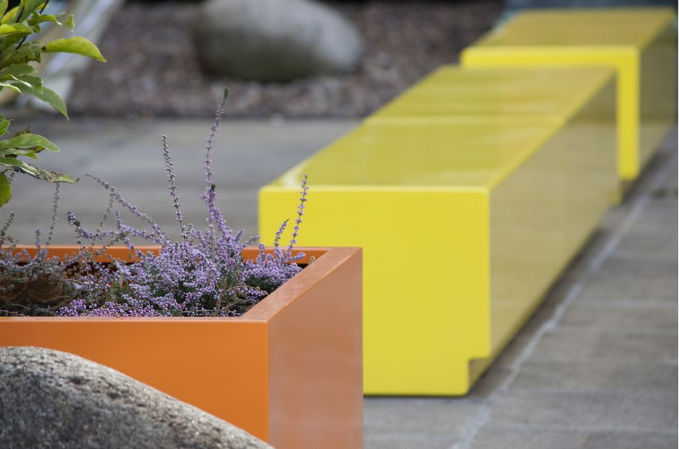 Planters With Bespoke Fibreglass Seating In RAL 1018 Zinc Yellow