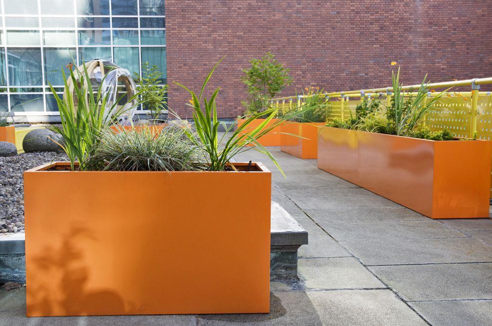 Polyester Powder Coated Pastel Orange Planters