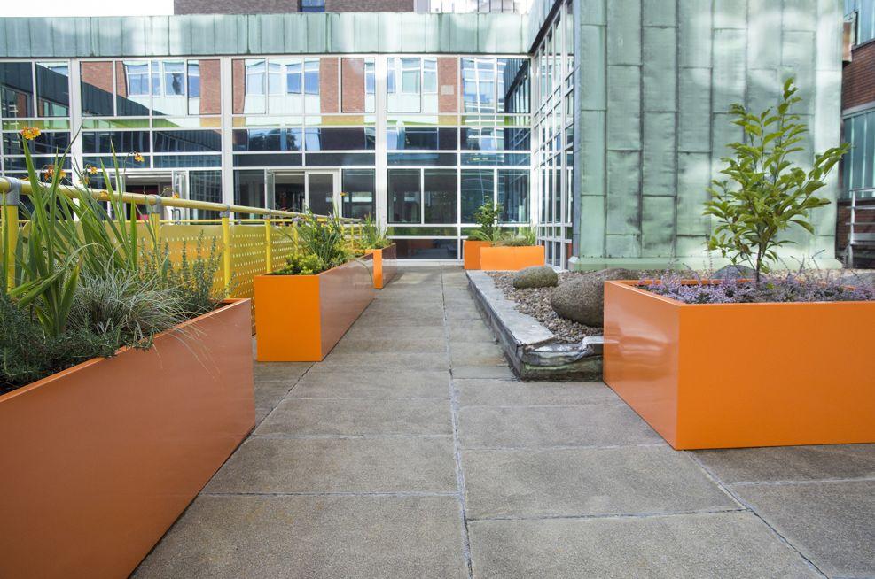 Steel Planters With RAL 2003 Pastel Orange Looks