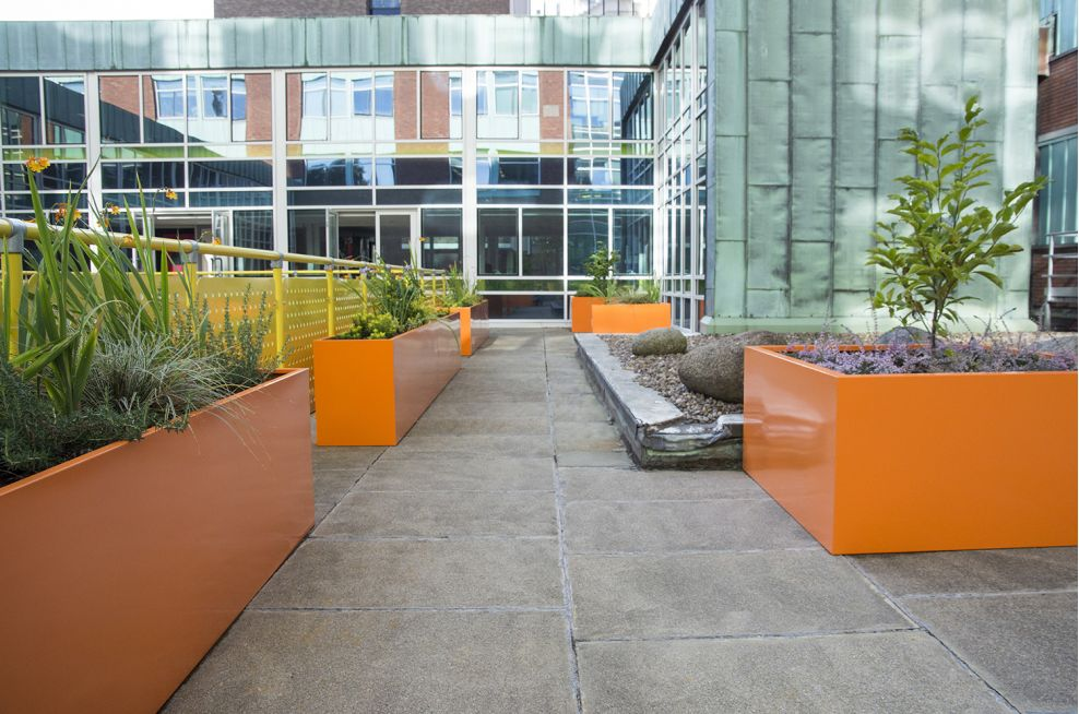 Steel Planters With RAL 2003 Pastel Orange Looks