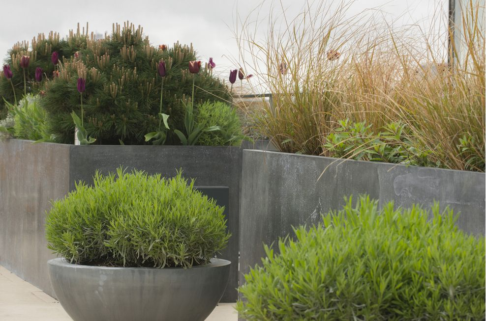 External Patinated Finish Zinc Planters