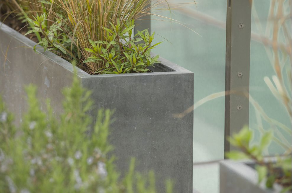 External Small Round Planters Made From Zinc