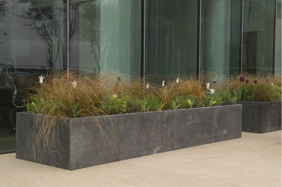 Outdoor Bespoke Zinc Planters At Verde