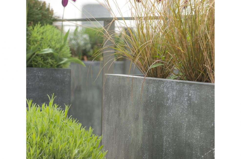 Outdoor Zinc Planters On A Steel Frame