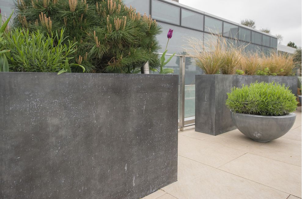 Planters In Zinc with Patinated Finish