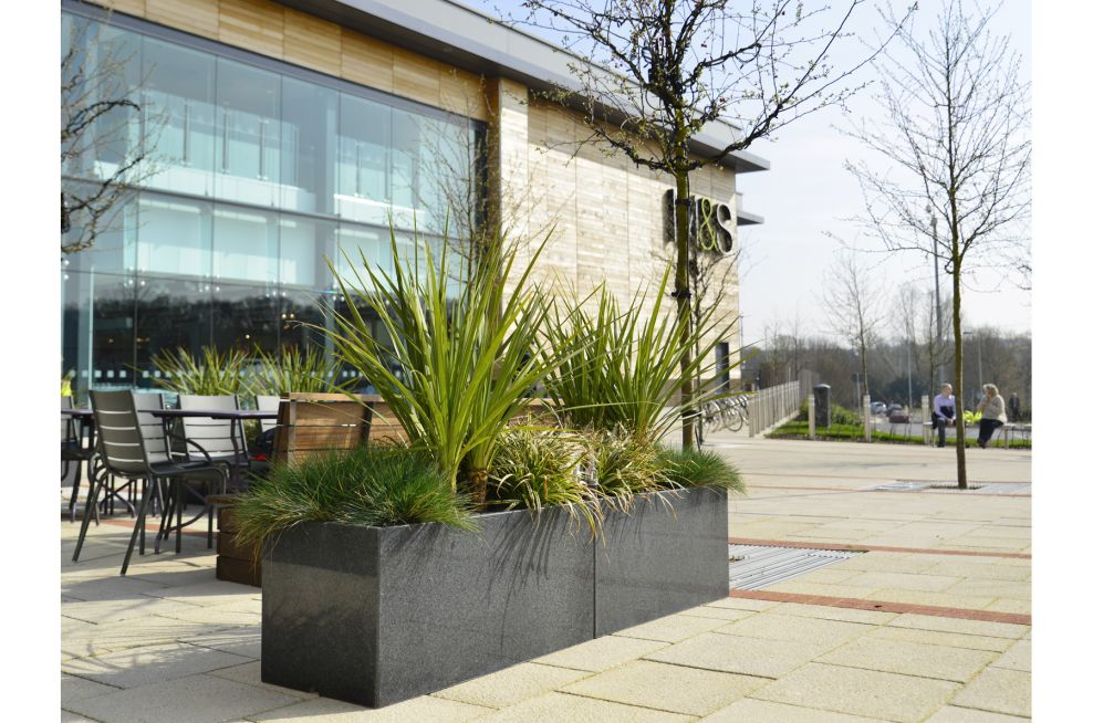 Granite Planters For Surrounding The Dining Terrace