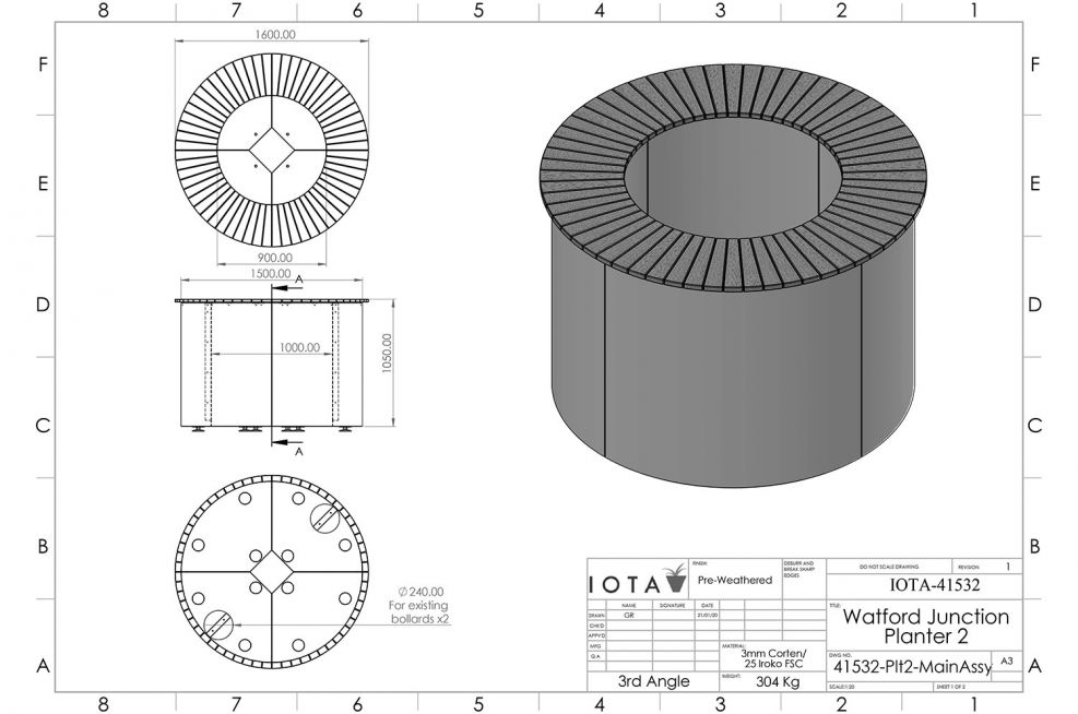 Round planter with table CAD design