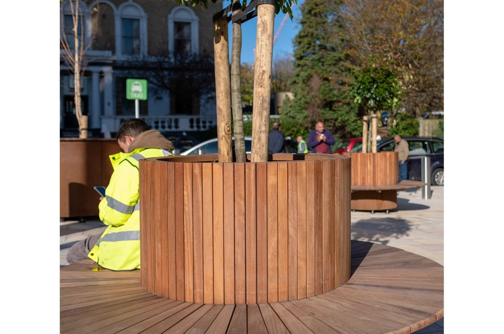 Public realm tree planter and seating