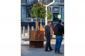Tree planter combined bench seat