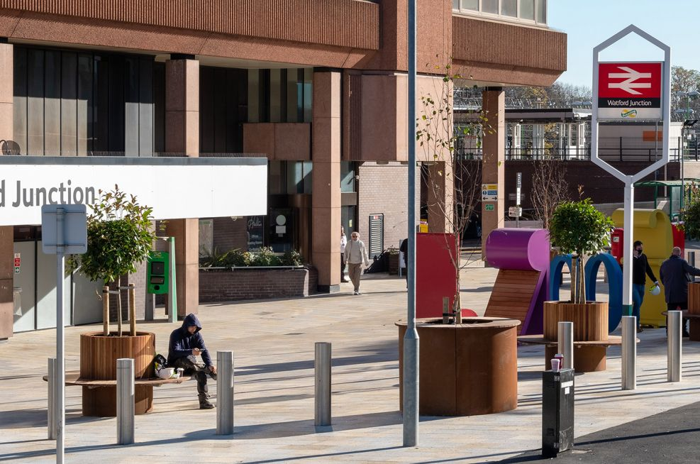 Corten and timber tree planters