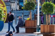 Tree planters with integrated bench seating