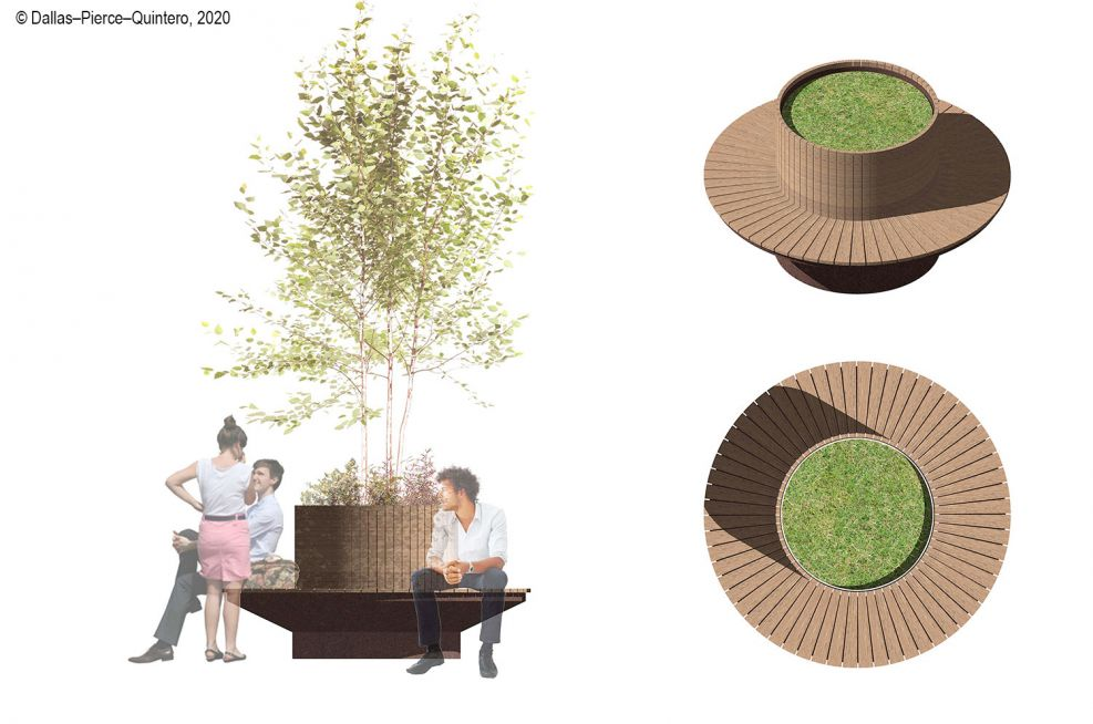 Steel planter with perimeter seating