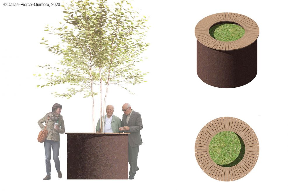 Street planter standing-height table