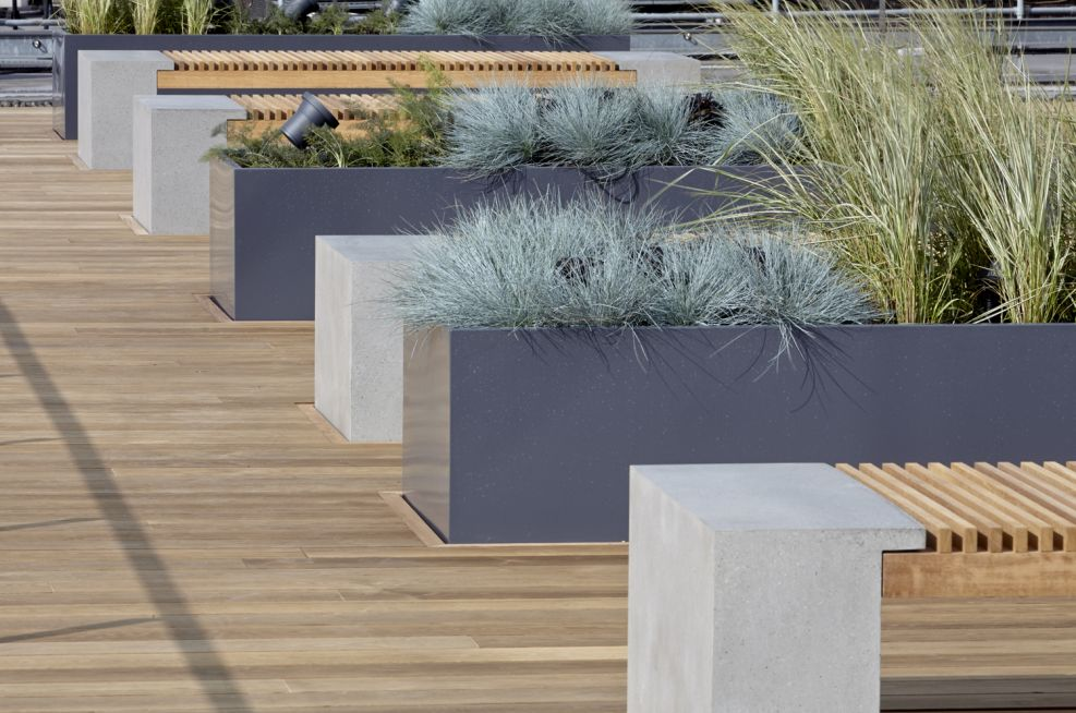 Steel Planters Powder Coated To Graphite Grey