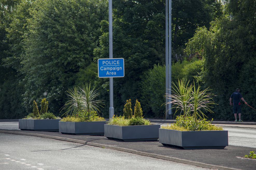 Powder Coated Steel Planters Across The A562