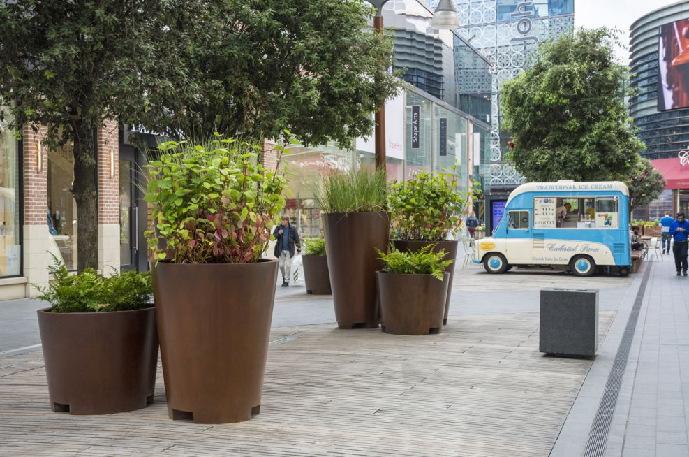 Cone Shaped Corten Steel Styled Planters