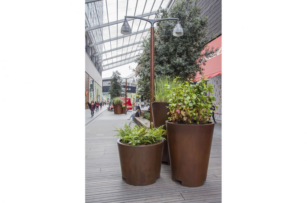 Extra Large Cone Shaped Faux Corten Steel Planters