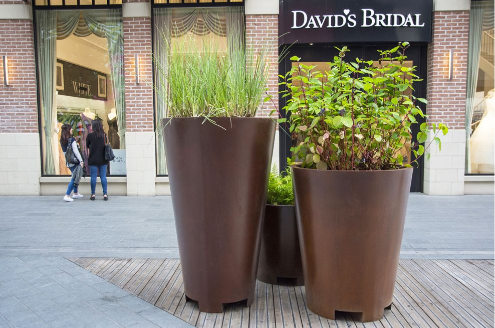 Faux Corten Steel Planters At Westfield Stratford City
