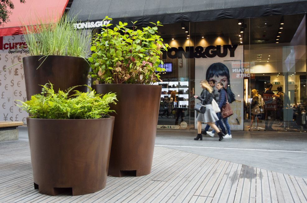 Groups Of Faux Corten Steel Planters