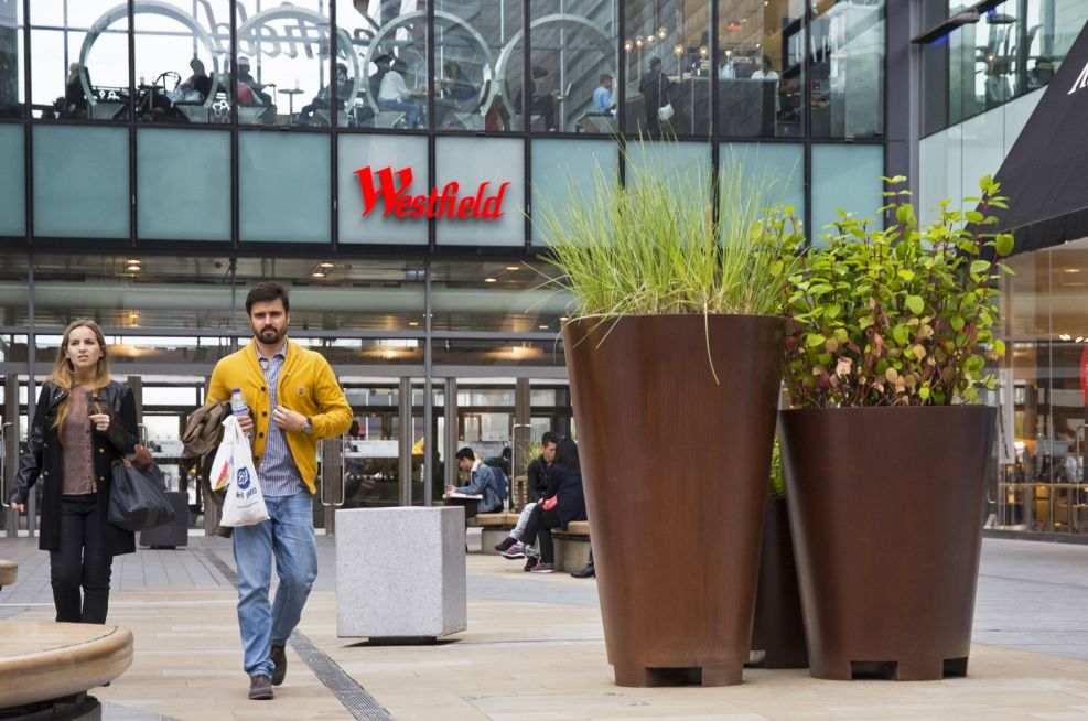Large Cone Shaped Faux Corten Steel Planters Westfield Stratford City