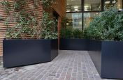Black steel planters for commercial areas