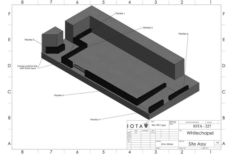 Design for perimeter planters around seating area