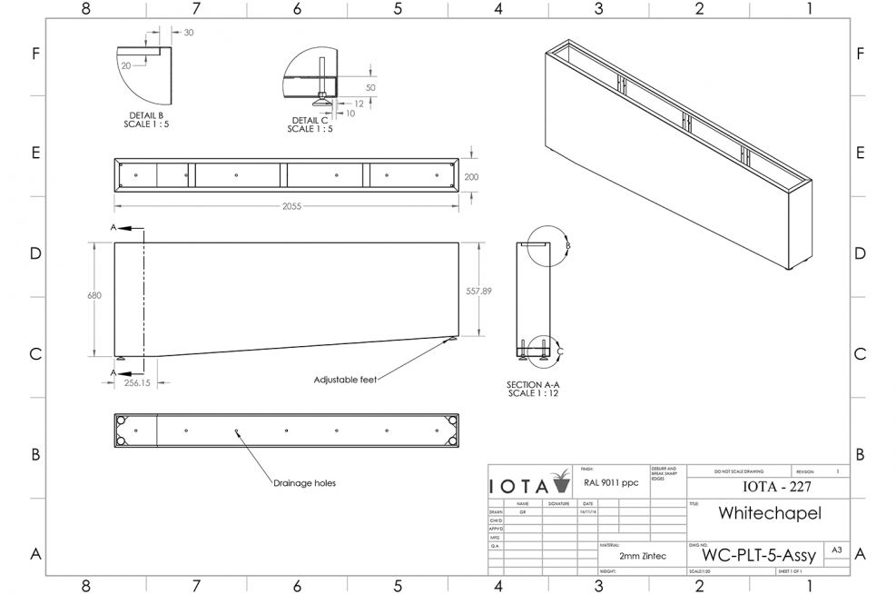CAD design for planters on a slope