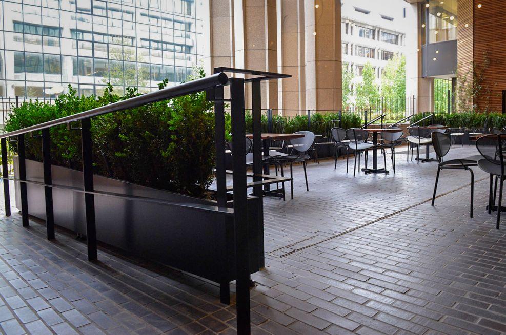 Seating area perimeter planters
