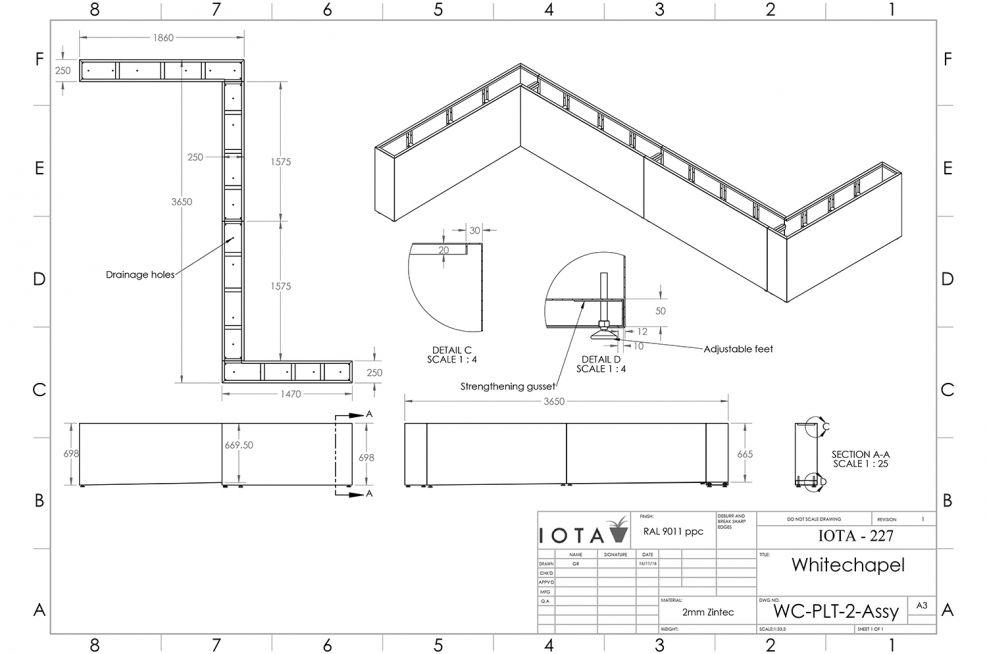 Sectional planter CAD design