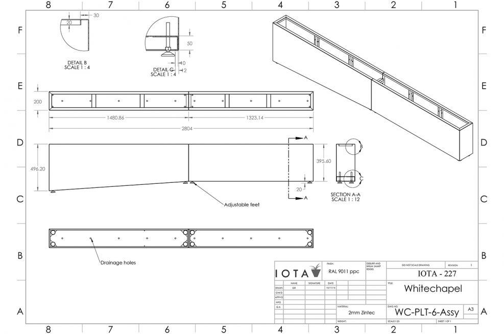 Sloped planter CAD design
