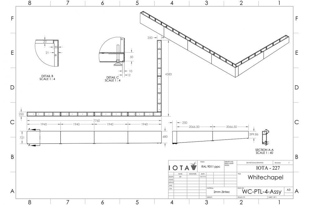 Planter design for sloped boundary