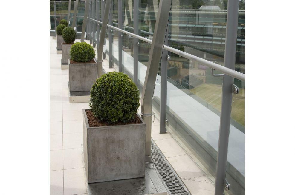 Italian Plaster Style Planters On Rooftop Terrace
