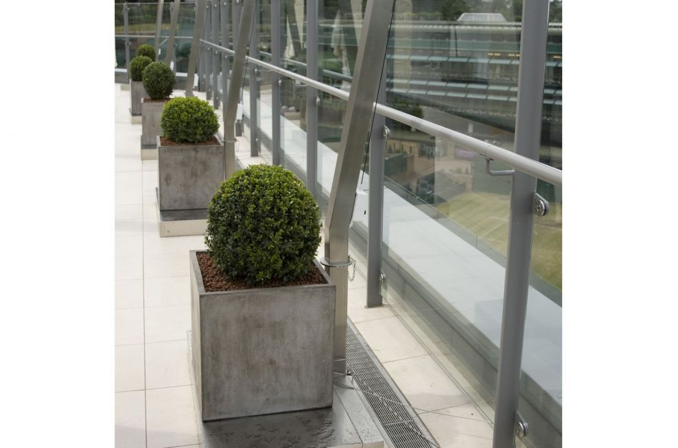 Italian Plaster Style Planters On Rooftop Terrace