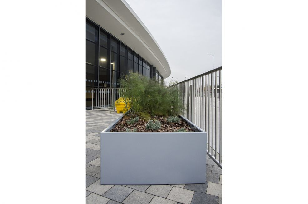 Steel Planters With a Window Grey Powder Coating