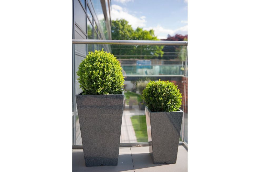 Granite Tall Tapered Planters On Balcony