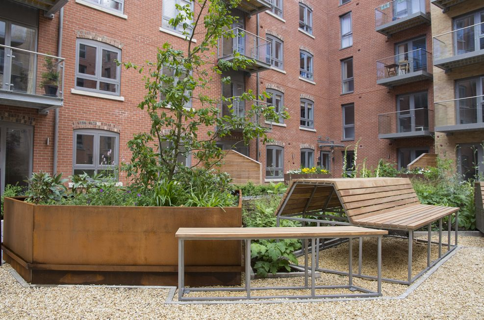 Benches and Large Corten Steel Planters