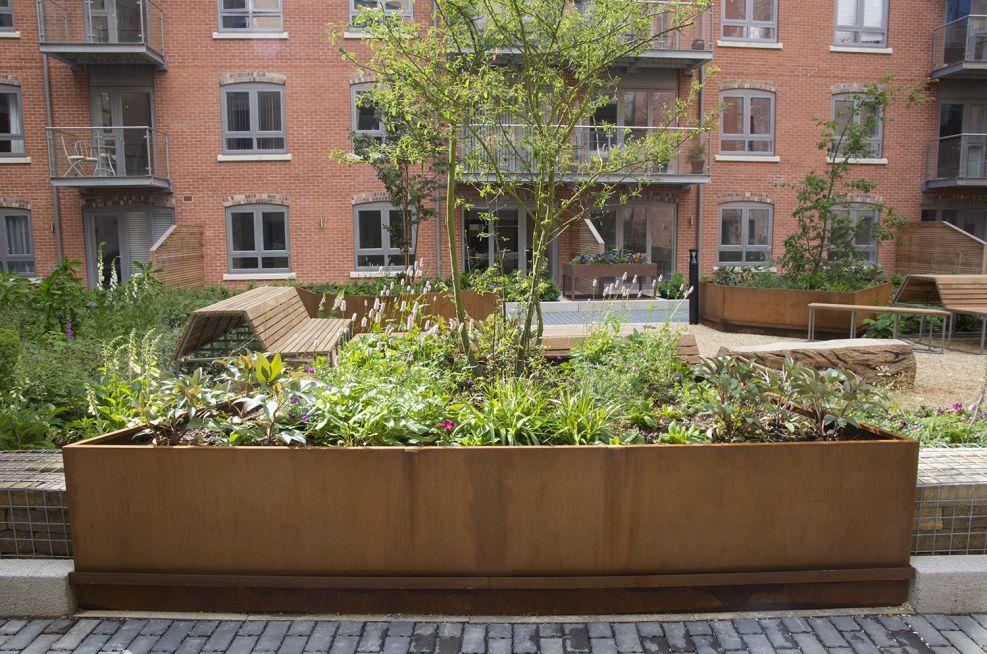 Corten Steel Trough Planter In York, Hungate Regeneration Scheme