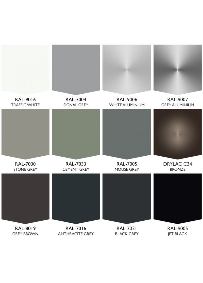 Range of standard RAL colours included in the price