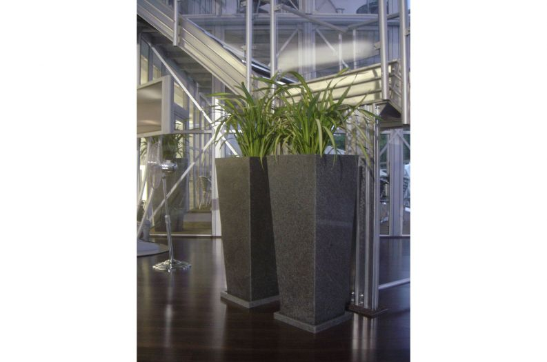 Granite Tall Taper XXL planters in a BMW showroom