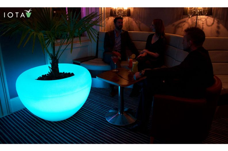 Illuminated SCOOP Moonlight planter at Attix Private Cocktail Bar and Venue