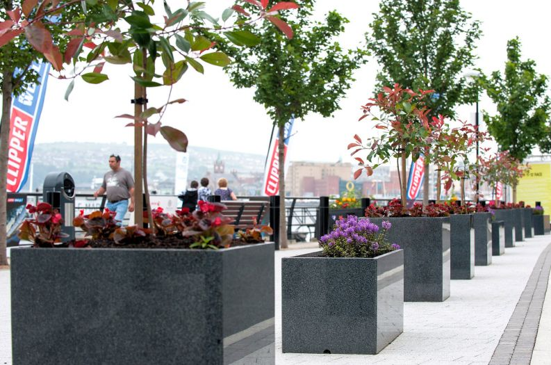 Granite Trough 1000 and Cube 600 planters on the quayside at Derry