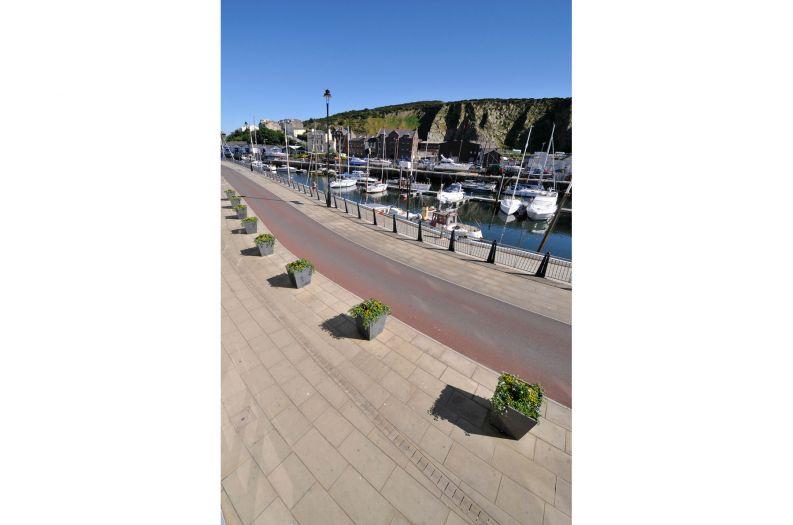 IOTA's Granite Taper 800 planters at the Dockside in Douglas, Isle of Man