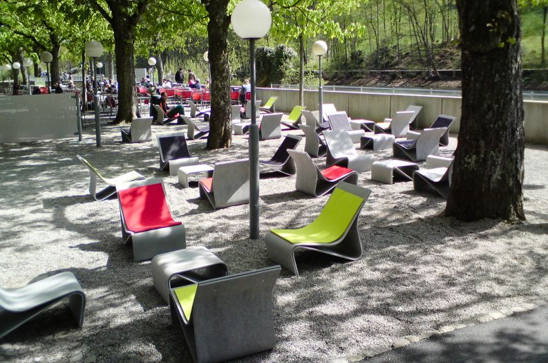 Sponeck chairs in public park in Switzerland