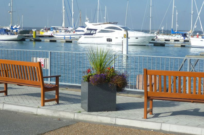 IOTA Granite Cube 600 Planters at Yarmouth Harbour