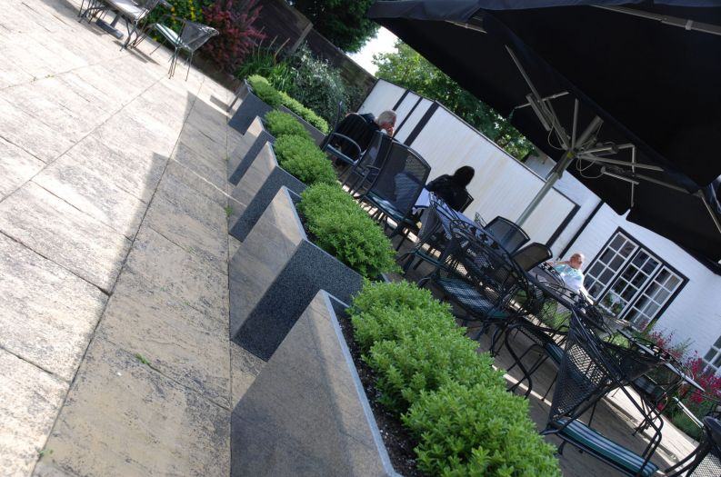 Granite Trough 1000 planters at a public house outside eating area