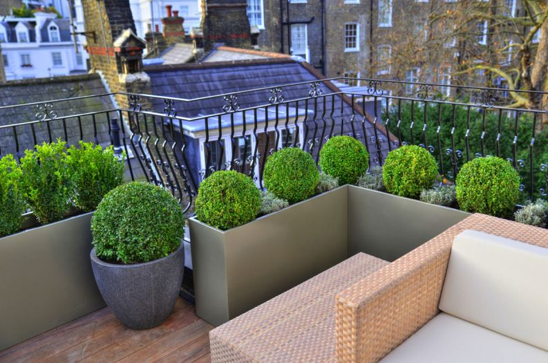 Bespoke powder coated steel planters at Hans Place, Knightsbridge, London