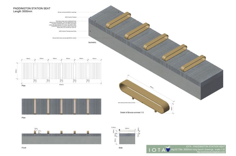 Granite seating designs for BAM Nuttall on Paddington Crossrail tender.
